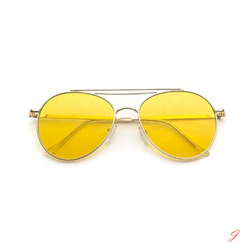 Round Tinted Frame Retro Aviator Sunglasses For Women