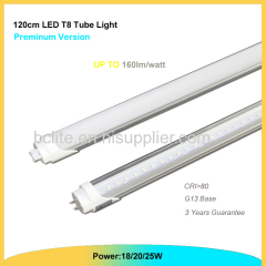 100lm/w LED T8 tube light 1200mm 18w