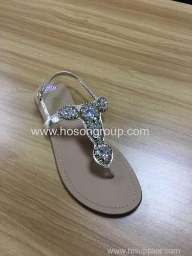 Clip toe lady flat sandals with rhinestone