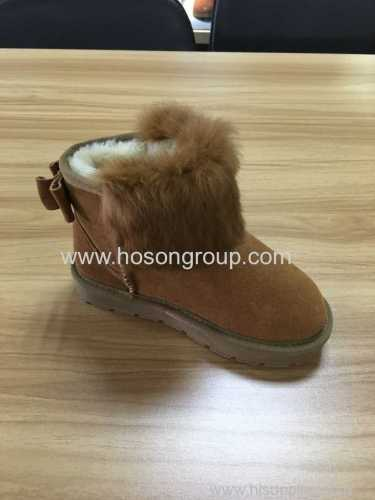 Round toe kids ankle boots with comfortable fur