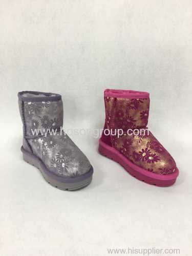 Shiny children winter ankle boots