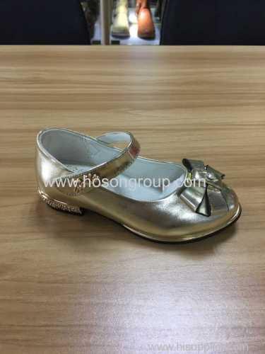 Gold bowtie girls dress sandals