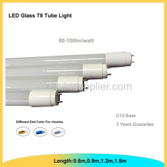 1.2m glass tube t8 light with color end caps