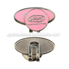 Metal iron soft enamel golf hat clip & Ball marker