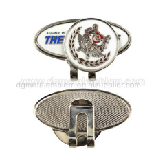 Metal iron imitation hard enamel golf hat clip & ball marker