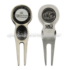 zinc alloy golf divot tool with two ball markers
