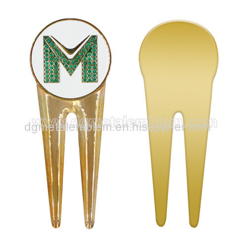 Brass golf divot tool + soft enamel ball marker with rhinestones