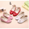 Girls round toe velcro dress sandals with bowtie