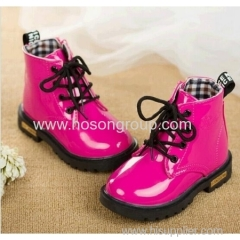 Shiny PU patent leather children ankle lace boots