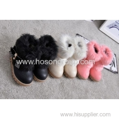 Children round toe ankle boots with fur