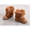 Children inside zipper ankle boots with fur