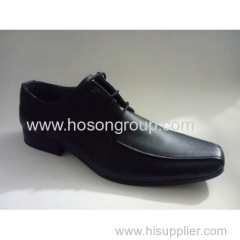 Plain toe men lace business shoes