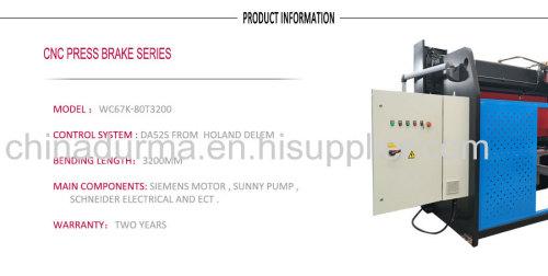CNC HYDRAULIC PRESS BRAKES WC67K-80x2500 with DA52S
