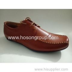 Men plain toe stitched lace shoes