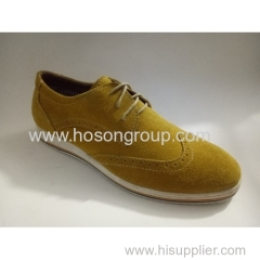 Suede men round toe lace shoes