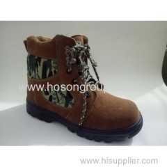 Suede and cloth men ankle lace boots
