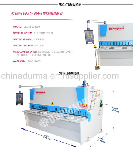 China manufactuer of QC12K series NC hydraulic shearing machine with best quality