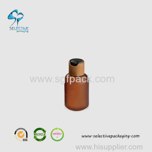 120ml frosted amber PET bottle with 24/410 bamboo disc top cap