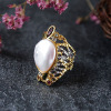 Fashion silver jewelry white pearl ring