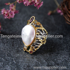 Fashion pearl jewelry silver ring TG-BAR-R-1708