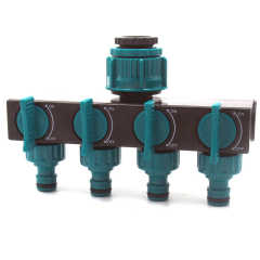Plastic 4-way garden hose tap connector