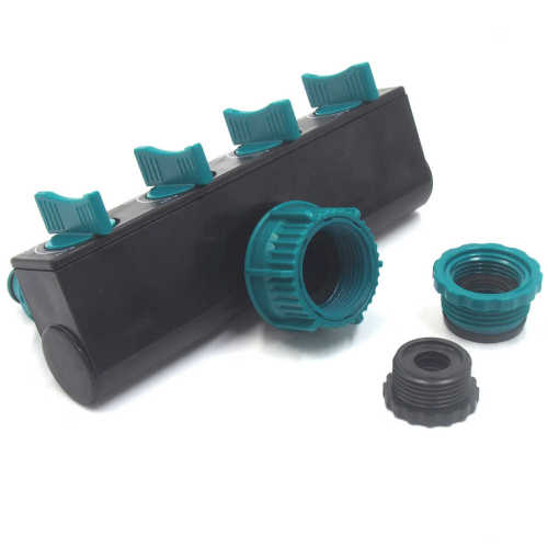 Plastic garden hose 4 way splitter