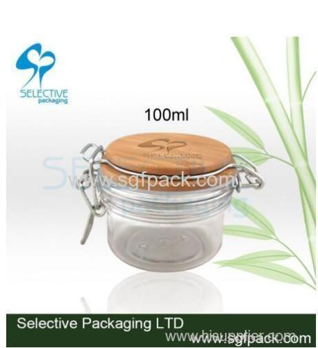 hot sale 100ml plastic pet stainless steel storage jar with bamboo lid and spoon bamboo cosmetic container