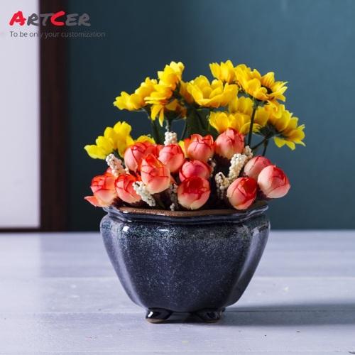 Artcer Handmade Custom Decorative Domestic Ceramic Glazed Mini Flower Pot