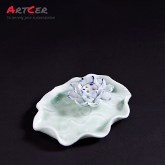 ODM & OEM Handmade Custom Ceramic Lotus Leaf Pattern Incense Burner Holder Christmas Decoration