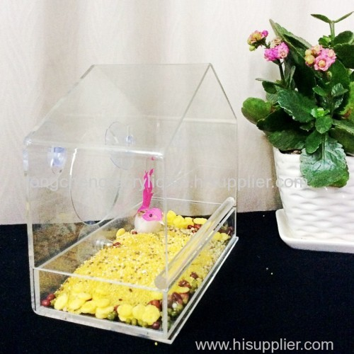 crystal clear acrylic bird feeder window bird feeder house plastic clear acrylic feed tray