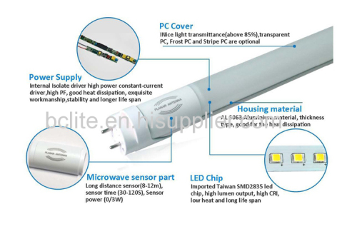 T8 18W Microwave Motion Activated Sensor LED Tube Light Rada sensor for parking lot