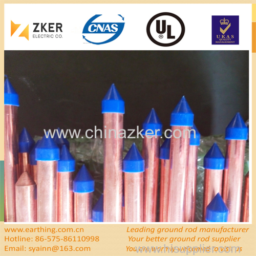 copper bonded pointed ground rod with plastic cap