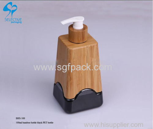 empty bamboo lotion plastic pump 500ml shampoo empty hand sanitizer bottle