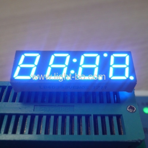 Ultra blue common anode 10mm 4 digit 7 segment led clock display for STB