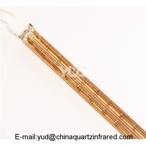 Energy efficient medium wave twin tube gold reflector infrared emitter for drying equipment