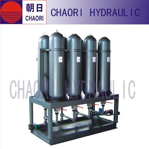 Hydraulic nitrogen acumulator station