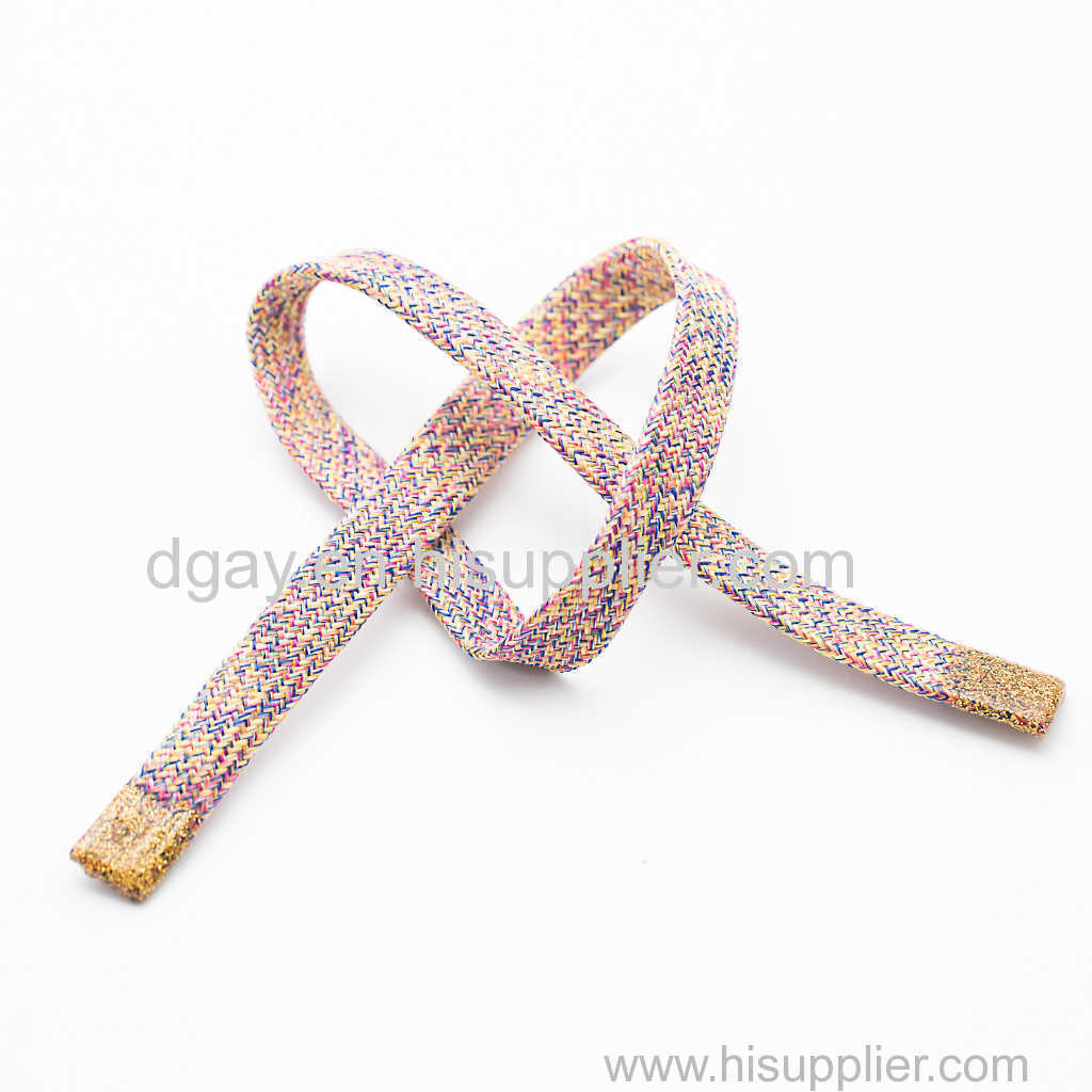 Flat braided drawcord with silicone tips for garments