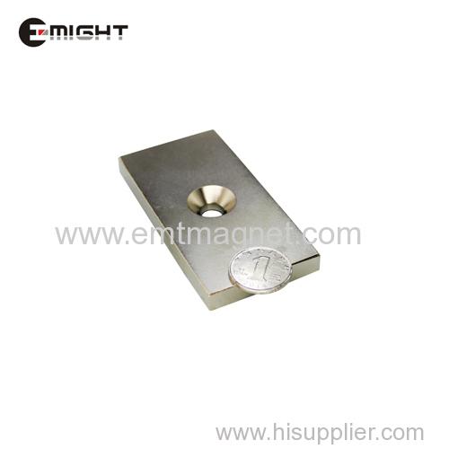 спеченный ndfeb сильный магнит зенковка блок магнит редкоземельный постоянный магнит никелированные неодимовые магниты