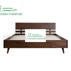 Nordic minimalist modern wood bed frame black walnut wood king bed