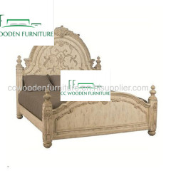 queen bed French pastoral retro solid wood full bed frame