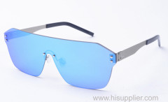 Shield one lens metal sunglasses