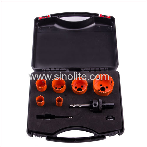 9pcs HSS Bi-Metal Hole Saw Set 7/8  1-1/8  1-1/2  1-3/4  2-5/8  2-7/8