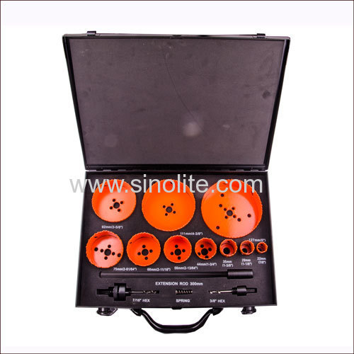 14pcs Bi-metal hole saw set 7/8  1-1/8  1-3/8 1-3/4  2-13/64  2-1/2  2-63/64  3-5/8  4-3/8  5
