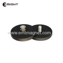 Rubber Coated Magnet With External Screw Thread Disc D66