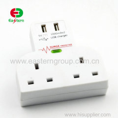 UK Plug 3 Pin Charger USB Adapter