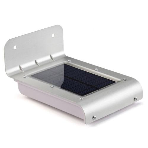16 LED Solar wall light Brushed Aluminum IP65 Waterproof Outdoor Porch Light for Entrance Garden Garage Patio