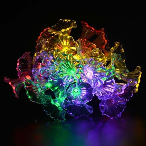 50 LEDS Solar Powered Morning Glory String Light with Remote Multicolor Waterproof 8 Modes 6.5m For Festival Decor