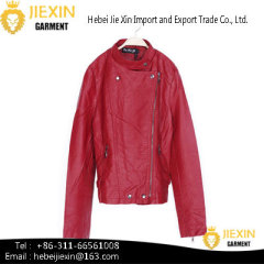 Hot Sexy Lady Red Motorcycle PU Leather Jacket