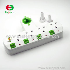 4 way UK wall socket adapter