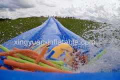 Single lane long slide inflatable slide the city